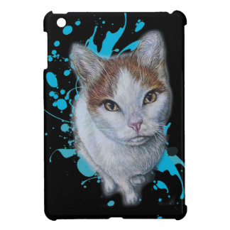 Drawing of Cat Art with Blue Paint Case iPad Mini Case