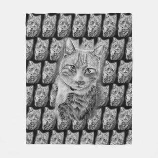 Drawing of Cat Black and White Animal Art Fleece Blanket