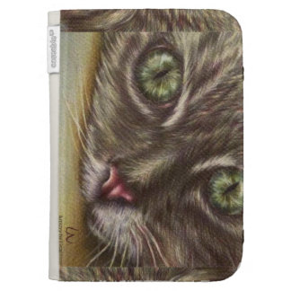 Drawing of Cat Close Up on Kindle Folio Kindle Keyboard Covers