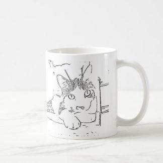 Drawing of Cat Coffee Mug