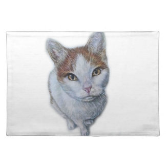 Drawing of Cat White and Orange Placemat