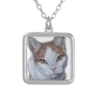 Drawing of Cat White and Orange Silver Plated Necklace