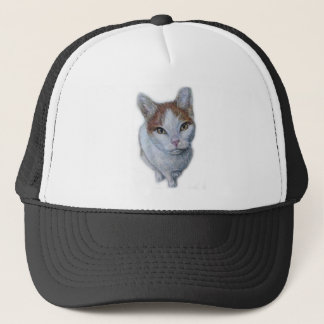 Drawing of Cat White and Orange Trucker Hat