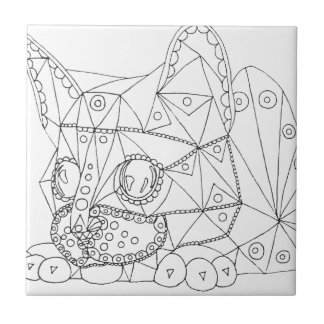 Drawing of Colorable Cat for Coloring Tile