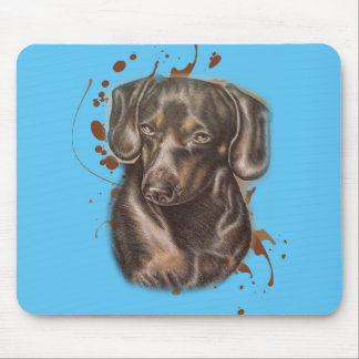 Drawing of Dachshund Dog Art and Paint Mouse Pad