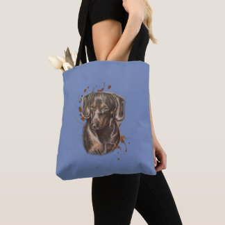 Drawing of Dachshund Dog Art and Paint on Tote