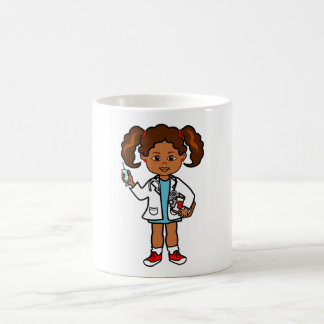 Drawing of Girl Doctor with Needle and Clipboard Basic White Mug