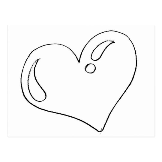 Drawing of heart to print and to paint postcard