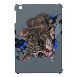 Drawing of Kitten as Cat with Paint Art iPad Mini Cover