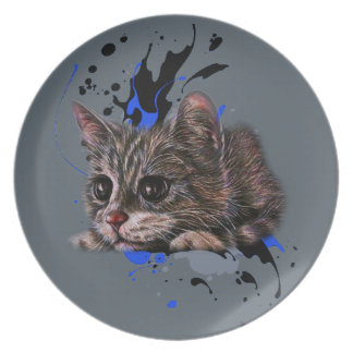 Drawing of Kitten as Cat with Paint Art Plate