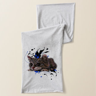 Drawing of Kitten as Cat with Paint Art Scarf