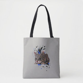 Drawing of Kitten as Cat with Paint Art Tote