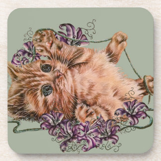 Drawing of Kitten as Cat with String and Lilies Coaster