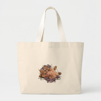 Drawing of Kitten as Cat with String and Lilies Large Tote Bag