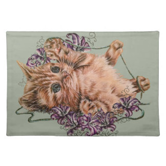 Drawing of Kitten as Cat with String and Lilies Placemat