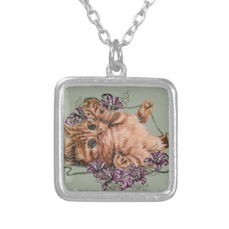 Drawing of Kitten as Cat with String and Lilies Silver Plated Necklace