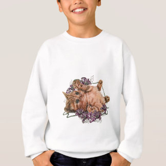 Drawing of Kitten as Cat with String and Lilies Sweatshirt
