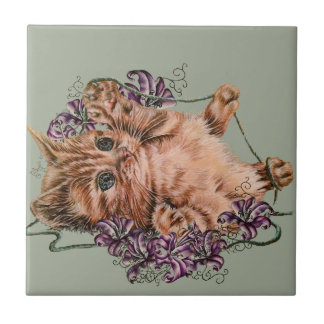 Drawing of Kitten as Cat with String and Lilies Tile