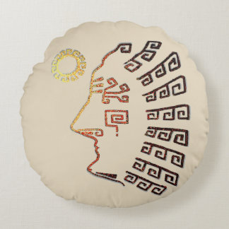 Drawing of Machu Picchu Silhouette Round Pillow