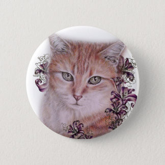 Drawing of Orange Tabby Cat and Lilies Flowers 2 Inch Round Button