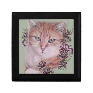 Drawing of Orange Tabby Cat and Lilies Flowers Gift Box