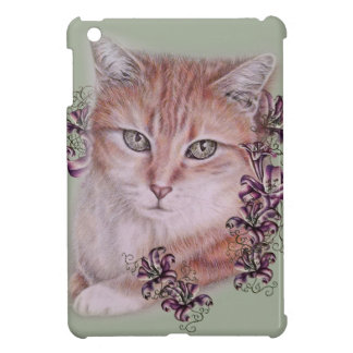 Drawing of Orange Tabby Cat and Lilies Flowers iPad Mini Cover