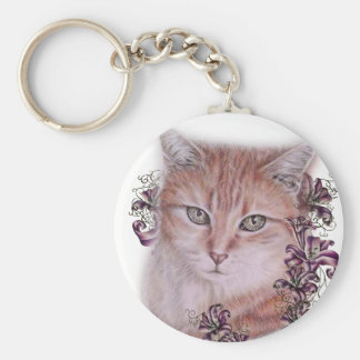 Drawing of Orange Tabby Cat and Lilies Flowers Keychain