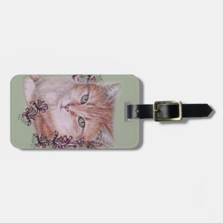 Drawing of Orange Tabby Cat and Lilies Flowers Luggage Tag