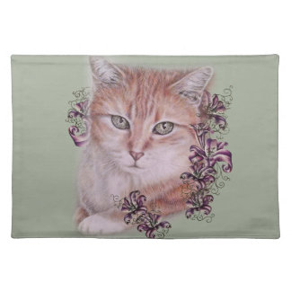 Drawing of Orange Tabby Cat and Lilies Flowers Placemat