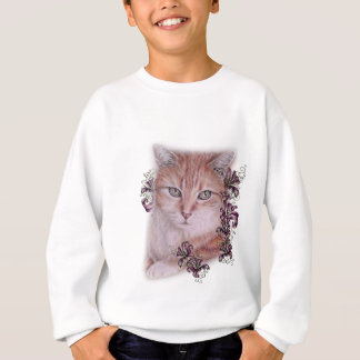Drawing of Orange Tabby Cat and Lilies Flowers Sweatshirt