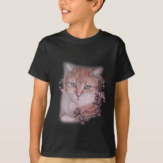 Drawing of Orange Tabby Cat and Lilies Flowers T-Shirt