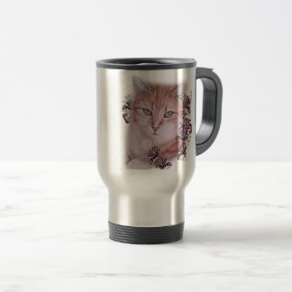 Drawing of Orange Tabby Cat and Lilies Flowers Travel Mug
