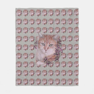 Drawing of Orange Tabby Cat and Lilies on Blanket