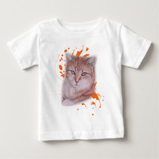 Drawing of Orange Tabby Cat and Paint Baby T-Shirt