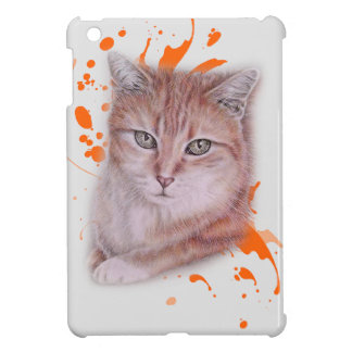 Drawing of Orange Tabby Cat and Paint iPad Mini Case