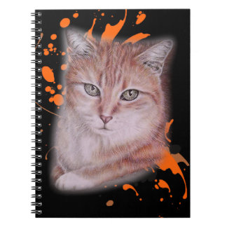 Drawing of Orange Tabby Cat and Paint Notebook
