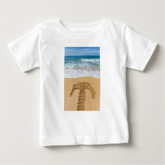Drawing of palm tree on sandy beach baby T-Shirt