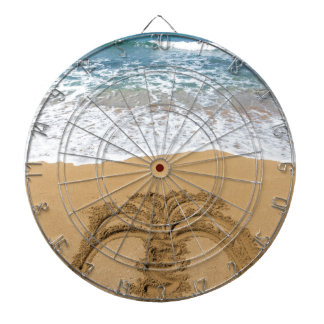 Drawing of palm tree on sandy beach dartboard