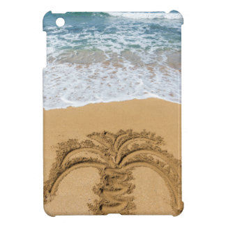 Drawing of palm tree on sandy beach iPad mini covers
