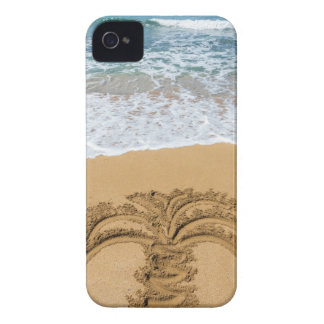 Drawing of palm tree on sandy beach iPhone 4 Case-Mate case