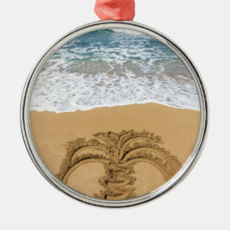 Drawing of palm tree on sandy beach Silver-Colored round ornament