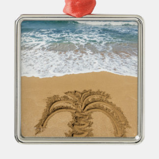 Drawing of palm tree on sandy beach Silver-Colored square ornament