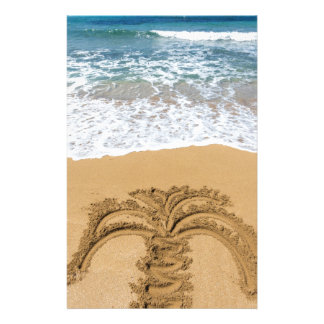 Drawing of palm tree on sandy beach stationery