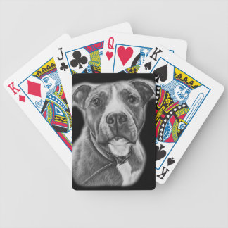 Drawing of Pit Bull Dog Animal Art Bicycle Playing Cards