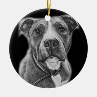 Drawing of Pit Bull Dog Animal Art Ceramic Ornament