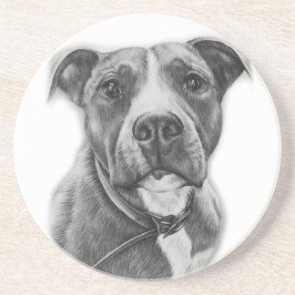 Drawing of Pit Bull Dog Animal Art Coaster