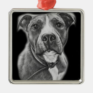 Drawing of Pit Bull Dog Animal Art Metal Ornament