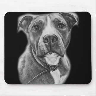 Drawing of Pit Bull Dog Animal Art Mouse Pad
