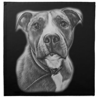Drawing of Pit Bull Dog Animal Art Napkin