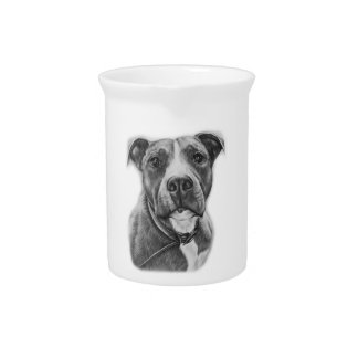 Drawing of Pit Bull Dog Animal Art Pitcher